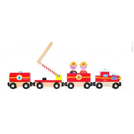 Train en bois Pompier - Janod JANOD