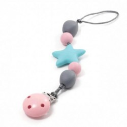 Teething Pacifier Clip - Bulle Bijouterie - Star Turquoise, Pale Pink and Gray