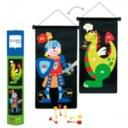 Jeu de fléchettes magnétique Dragon et chevalier bleu - Scratch