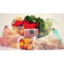 Ensemble de Sacs à fruits et légumes en filet - Saksac Saksac