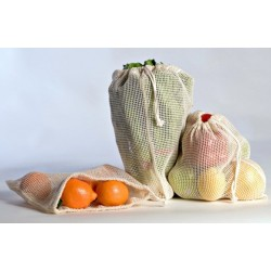 3 large reusable bags for fruits and vegetables - Steward Bags - Opening and closing easy