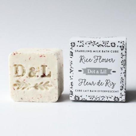 Cube lait bain effervescent fleur de riz - Dot & Lil