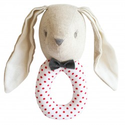 Red-Dotted Bunny Linen Rattle - Alimrose
