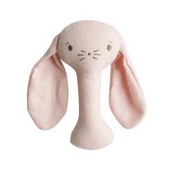 Pink Bobby Bunny Stick Rattle - Alimrose