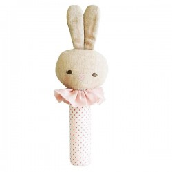 Roberta Bunny Pink Squeaker Rattle - Alimrose