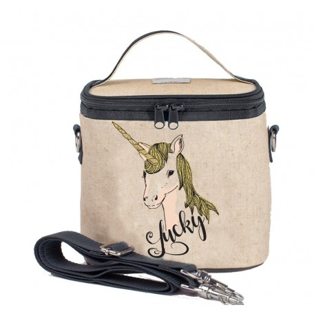 Raw Linen Insulated Cooler Bag Small - SoYoung - Olive Fox