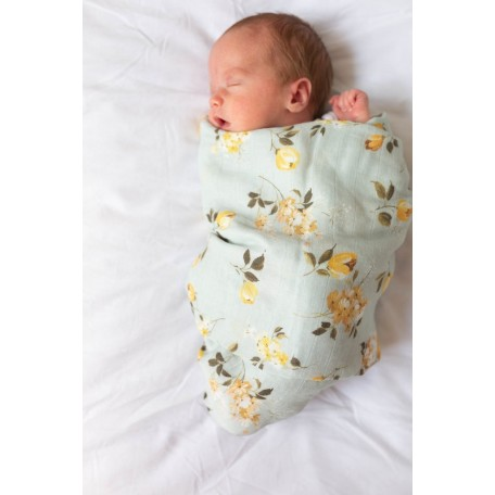 Bamboo Muslin Swaddle Wild Roses - Loulou Lollipop