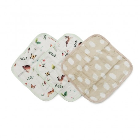 Set of 3 Woodland Gnome Deluxe Bamboo Muslin Washcloth - Loulou Lollipop