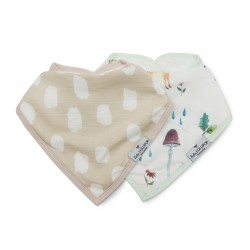 Set of 2 Woodland Gnome Bamboo Muslin Bandana Bibs - Loulou Lollipop