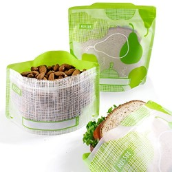 4 Green Reusable Snack and Sandwich Bags - Russbe