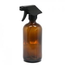Bouteille vaporisation en verre ambré 1l