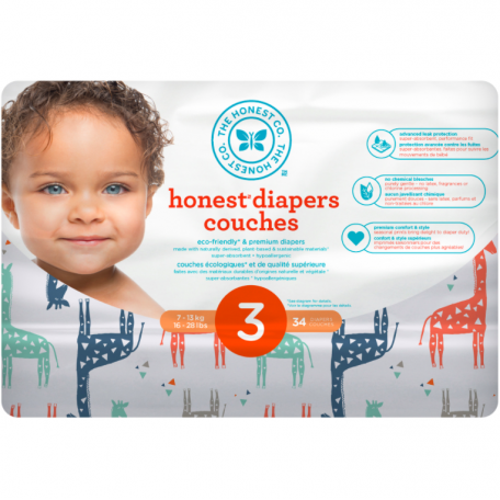 Biodegradable disposable diapers Big Sizes- The Honest Company - Skulls and bikes