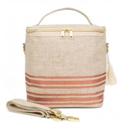 Raw Linen Insulated Lunch Poche Rose gold - SoYoung