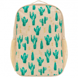 Raw Linen Grade School Backpack Cacti - So Young
