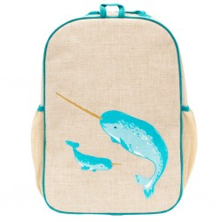 Raw Linen Grade School Backpack - So Young - Bunny Tile