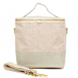 Raw Linen Insulated Lunch Poche Cement Colour Bloc - SoYoung