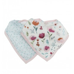 Set of 2 Rosey Bloom Bamboo Muslin Bandana Bibs - Loulou Lollipop