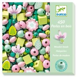 450 perles en bois, Feuilles et fleurs - Djeco Djeco