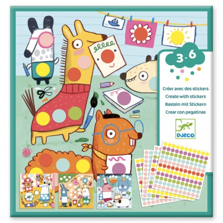 Create with stickers - Coloured Dots - Djeco