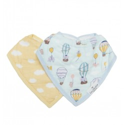 Set of 2 Blushing Protea Bamboo Muslin Bandana Bibs - Loulou Lollipop