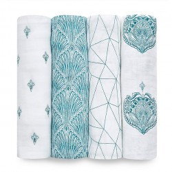 Pack 4 Cotton Covers Paisley Teal - Aden & Anais