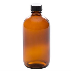 Amber Glass Bottle with black cap 236 ml - La Looma