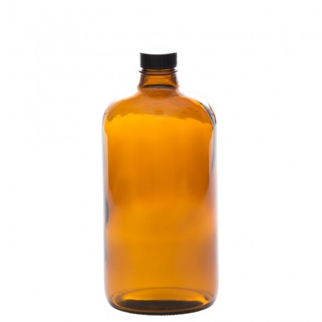 Amber Glass Bottle with black cap 1L / 32Oz - La Looma