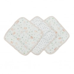 Set of 3 Wild Rose Deluxe Bamboo Muslin Washcloth - Loulou Lollipop