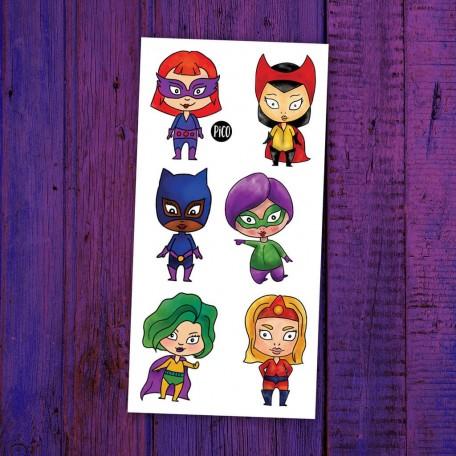Tatouages temporaires Super-héros féminins - Pico Pico