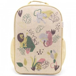 Raw Linen Grade School Backpack Junle Cats - So Young